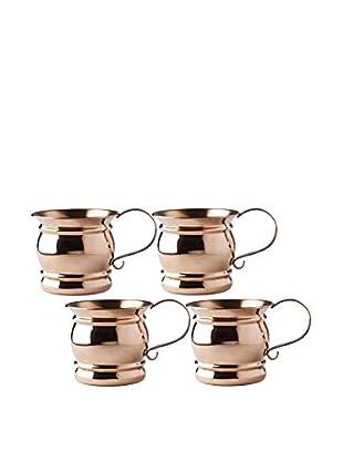 Old Dutch International Set of 4 Solid Copper 16-Oz. Moscow Mule Flat Handled Mugs