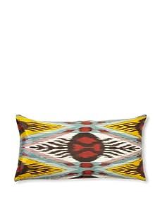 """D. Bryant Archie Uzbek Ikat Pillow, Red/Black/Yellow, 12"""" x 20"""""""