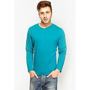 Aqua Blue Solid V Neck T-shirts Gritstones