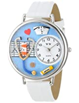 Whimsical Watches Unisex U0620013 Nurse White Leather Watch