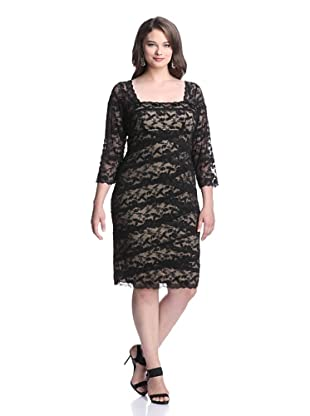 Marina Plus Women's Beaded Lace Dress (Black/Nude)