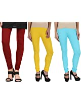 Kamaira Leggings Combo Maroon, Hot Yellow & Sea Blue