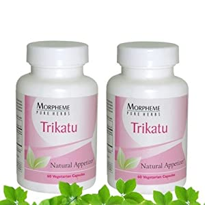 Morpheme Trikatu Supplements For Digestive Health - 500mg Extract - 60 Veg Capsules - 2 Combo Pack