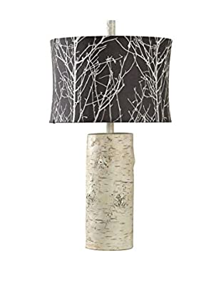 StyleCraft Willow 1-Light Table Lamp With Designer Shade, Black/White/Natural