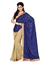 De Marca Beige and Navy Blue Art Silk G-334 Saree