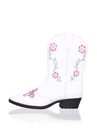 Laredo Kid's Butterflies & Flowers Embroidered Boot (White)