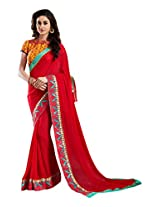 Brijraj Red Poly Georgette Beautiful Lace Border Saree With Unstitch Blouse
