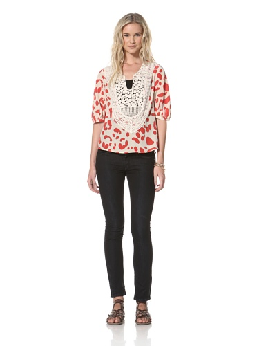 Leyendecker Women's Chase Layered Embroidered Top (Crimson Dalmation)