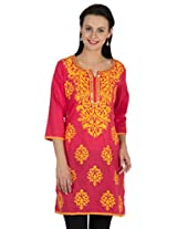 Sohniye Hand Sequenced Cotton Kurta-Coral Color
