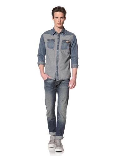 Artisan De Luxe Men's The Engineer Button-Up Shirt (Destroyed Stripe)