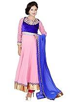 Tehzeeb Women's Faux Georgette Anarkali Salwar Suit (HPSUA013_M, Multi, M)