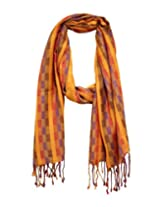Anekaant Checkered Viscose Women's Scarf (Orange)