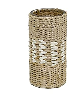 Three Hands Glass & Woven Vase, Natural