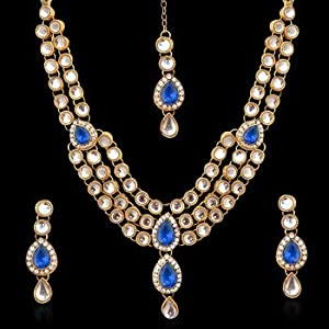 Necklace sets - Ethnic Indian Jewelry Bridal Deep Blue Victorian Kundan Like Necklace Set mw65n