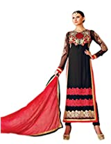Admyrin Women's Black Georgette Embroidered Salwar Suit