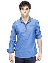 Chewingum Freshwear 109 Men's Solid Short Kurta (Blue) - (Size - XXL)