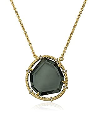 Riccova Sliced Black Glass Necklace with CZs