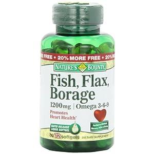 Nature's Bounty Omega 3-6-9 Fish Flax Borage 1200mg Softgel 72 Count Bottle 2 AD