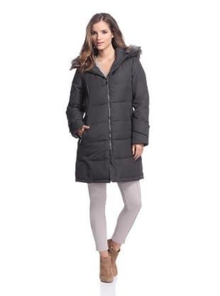 Calvin Klein Women's Down Coat with Faux Fur Trim (Dark Charcoal)