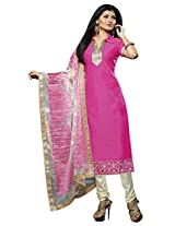 Manvaa ZESTY PINK AND WHITE Embroidered Dress Material