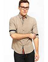 Solid Beige Casual Shirt