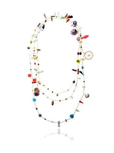 Mercedes Salazar Long Charm Necklace, White/Multicolor