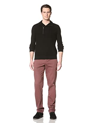 Jacob Holston Men's Hewitt Mix Stitch Zipper Sweater (Black)