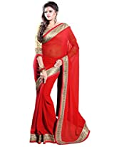 Sourbh Faux Georgette Lace Saree (5752 _Red)