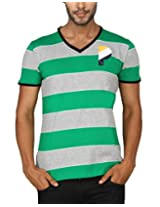 Paani Puri Men's V-Neck T-Shirt (MVNSSP08_Green_X-Large)