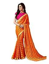 Brijraj Orange Poly Georgette Beautiful Dupion Border Saree With Unstitch Blouse