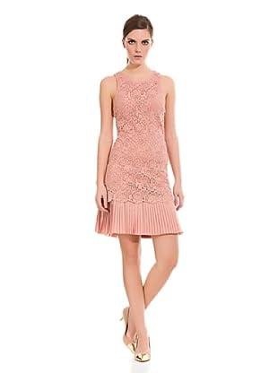 Cortefiel Vestido Encaje Y Plisado (Rosa)