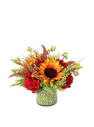 Creative Displays Orange Sunflowers, Wild Astilbe, & Hydrangeas in Green Bean Embellished Container, Rust/Red/Green