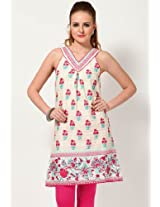 Cotton Off White Kurti