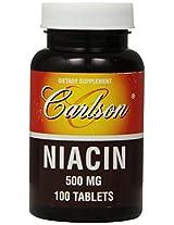 Carlson Labs Niacin, 500mg, 100 Tablets