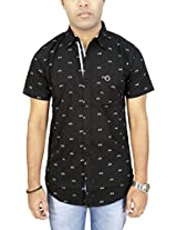AA' Southbay Men's Black Cycle Print 100% Cotton Half Sleeve Casual Party Shirt