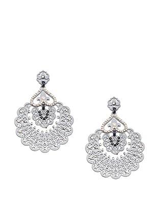 LK Designs Fan Earrings, Gunmetal Silk