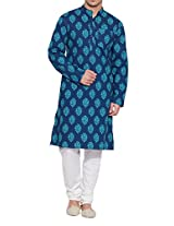 Shaliindia Men Cotton Long Kurta Nehru Collar 3 pockets,M-CLK34-1012,Blue,Size-34 Inch
