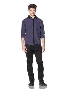 ZAK Men's Long Sleeve Contrast Woven Shirt (Blue/Black)