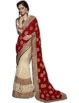 Manvaa red and white saree -GC1904