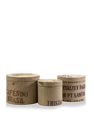 Set of 3 Tavin Jute Fabric Round Boxes