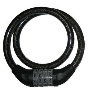 Raychell(レイチェル) ダイヤル式ワイヤー錠 ブラック JC-001W