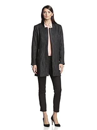 Vince Camuto Women's Trench with Faux Leather (Black)