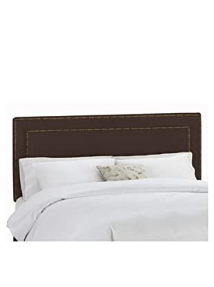 Skyline Brass Nail Button Border Headboard (Chocolate)