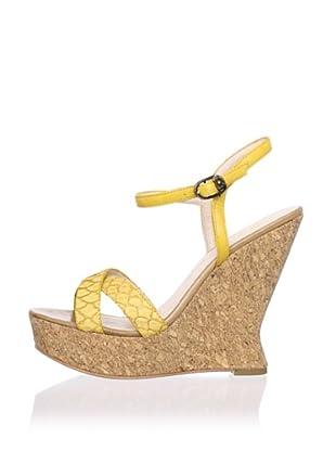 House of Harlow 1960 Women's Pat Wedge Sandal (Yellow/Mellow Yellow)