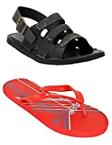 Gas Envy Grey And Black Men Sandals with Lotto Slippers