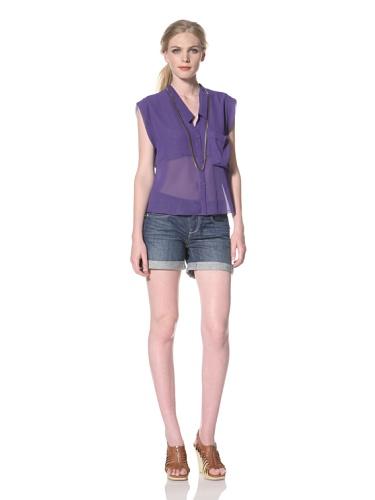DV by Dolce Vita Women's Carlie Button Front Shirt (Purple)
