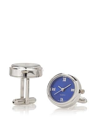 Link Up Shiny Blue Dial Watch Cufflinks