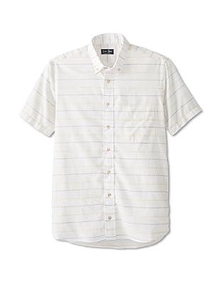 Gitman Blue Men's Multicolor Horizontal Stripes Long Sleeve Sportshirt (Beige)