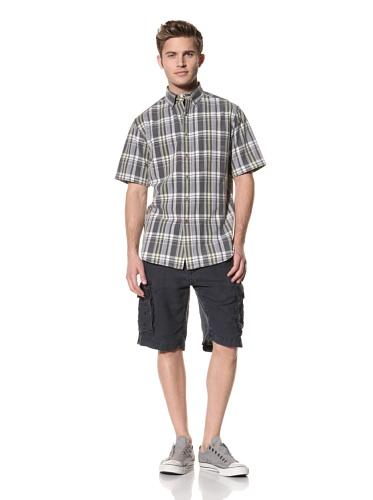 Tailor Vintage Men's Short Sleeve Plaid Shirt (Navy/Pistachio Plaid)