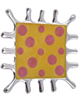 Craftos Impex Aluminum Decorative Plate (15 cm x 15 cm x 1.5 cm, Yellow)